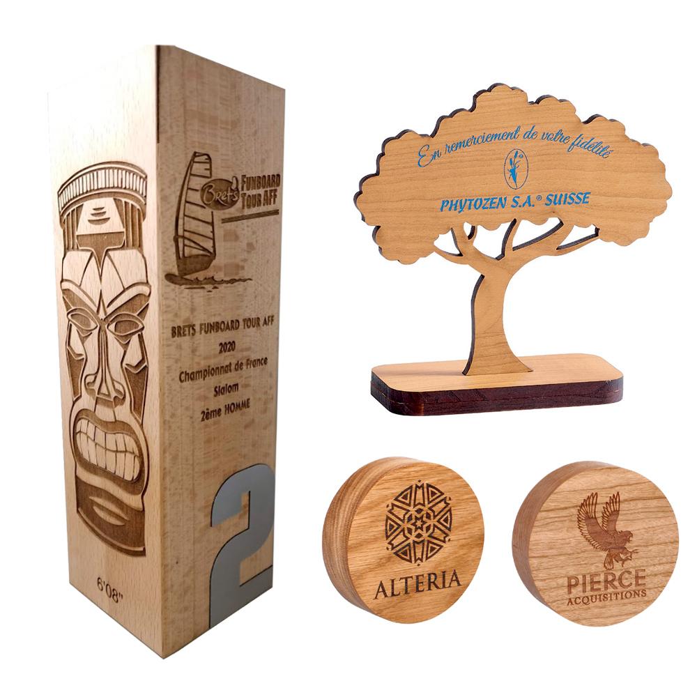 Trophées en bois à personnaliser
